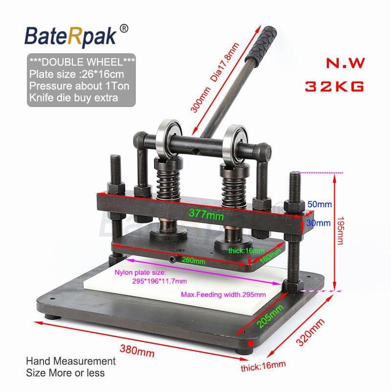 26x16cm podwójne koło ręczna maszyna do cięcia skóry, BateRpak papier fotograficzny, pcv/arkusz eva foremka, maszyna do cięcia skóry