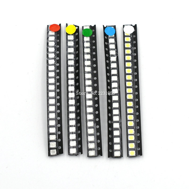 100PCS/LOT Super Bright 3528 1210 SMD LED Kit Red/Green/Blue/Yellow/White 5 Colors Each 20pcs LED Diode Bead 3.5*2.8*1.9mm