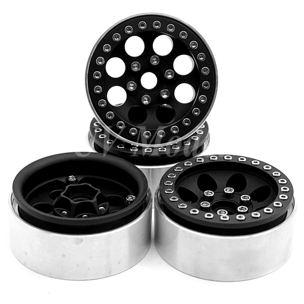 4 Pcs/lot Black Alloy 1/10 RC Crawler 1.9 Beadlock Wheels  for SCX10 D90 90034 90035 Aluminum Rim Free Shipping 4 pcs lot black alloy 1 10 rc crawler 1 9 beadlock wheels for scx10 d90 90034 90035 aluminum rim free shipping