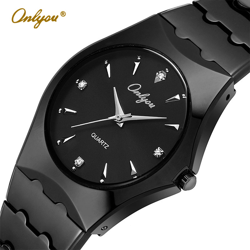 Onlyou Top Luxury Brand Silver Watches For Men Business Stainless Steel Quartz Watch Fashion Dress Watch Male Black Clock 8677 xinge top brand luxury leather strap military watches male sport clock business 2017 quartz men fashion wrist watches xg1080