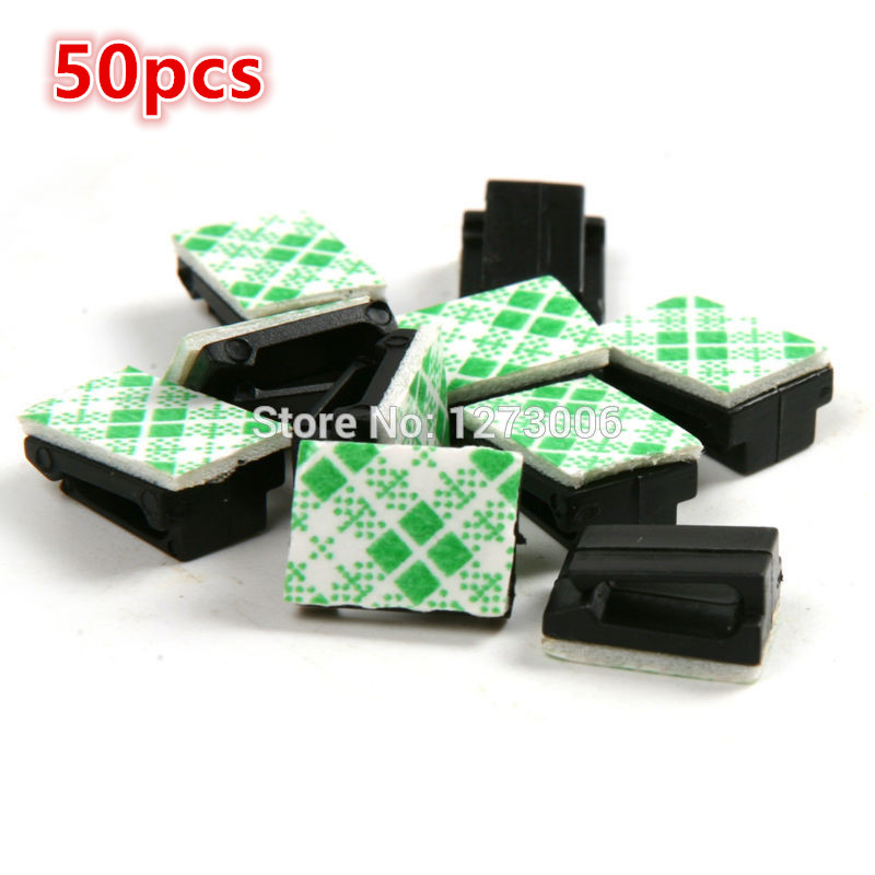 NEW 50Pcs Car Drop Adhesive Self-adhesive Rectangle Holder Wire Tie Clamp Clips Cord Cable Fixer Organizer Car-styling HOT SALE