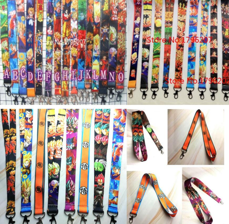 500pcs mix Japanese anime Dragon Ball Z Goku <font><b>Sayajins</b></font> Master Roshi Strap Lanyard Mobile Phone Key Chain ID Badge Key Chains P88 image