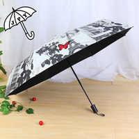 Jiangpanyue Paris Rose papillon Parasol noir revêtement UV Parasol parapluie pluie femmes modeste jeune fille parapluieparaguay