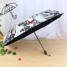 Jiangpanyue 파리 장미 나비 태양 우산 블랙 코팅 uv 파라솔 우산 비 여자 겸손한 처녀 parapluieparaguas