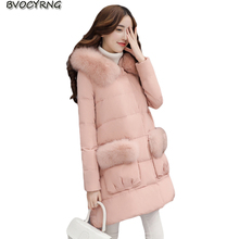 New Winte Thickening Down Jacket Female Heavy Hair Collar Medium Style Loose Parka High Quality White Duck Down Warm Coat Q826