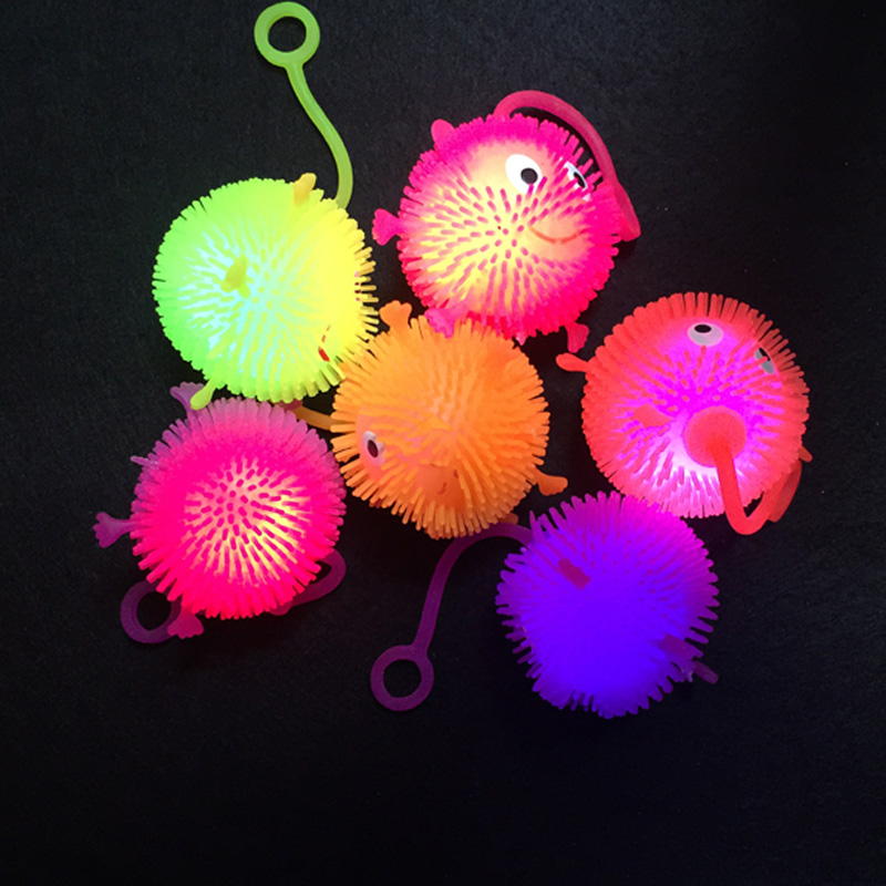 Luminous Balls Light-Up Led Luminous Toy Smile Jump Fluffy Ball Luminous LED Bouncy Ball Kids Gift Halloween/Christmas Led Toys