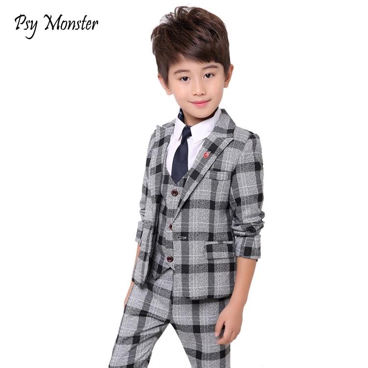 Boys Plaid suit for wedding kids Formal Blazer Vest Shirt Pants Tie 5Pcs costume enfant garcon mariage jogging garcon tuxedo N51