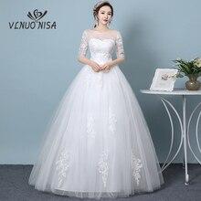 رائجة البيع أنيقة الدانتيل فستان الزفاف نصف كم يزين عارية الذراعين حجم كبير مخصص فستان زفاف رخيصة Vestidos De Noiva