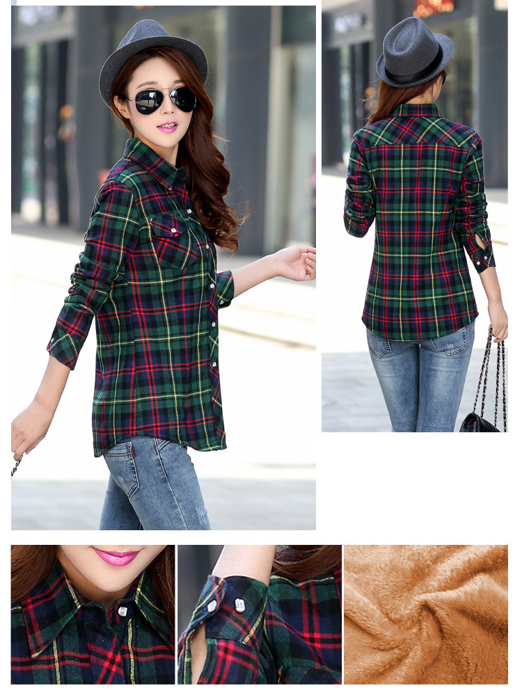 19 Brand New Winter Warm Women Velvet Thicker Jacket Plaid Shirt Style Coat Female College Style Casual Jacket Outerwear 4