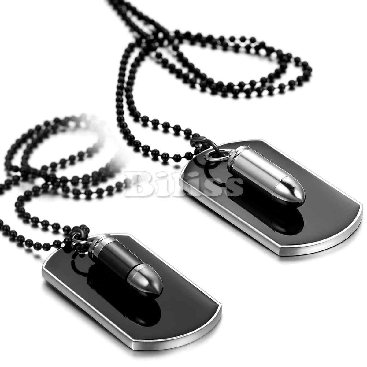 BONISKISS الرجال المجوهرات الجيش نمط رصاصة الكلب علامة قلادة رجل قلادة أسود فضي اللون 27 بوصة سلسلة تصميم فريد نقش