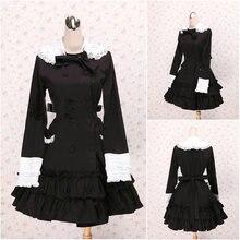 Freeshipping! V-1028 Schwarz Rüschen Knie-Länge langen Ärmeln Gothic Lolita Kleid Schuluniform cosplay Cocktail Kleid alle Größe