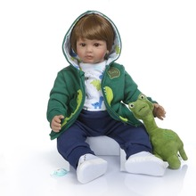 NPK 60CM high quality soft silicone reborn toddler girl doll in hoodie dress bebe doll reborn long hair doll 6-9M real baby size