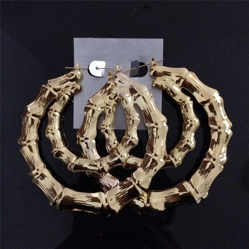 Hot Basketball Wives Gold Silver Plated Tone Bamboo Joint Large Hoop Earrings Heart Star Hip-Hop Jewelry