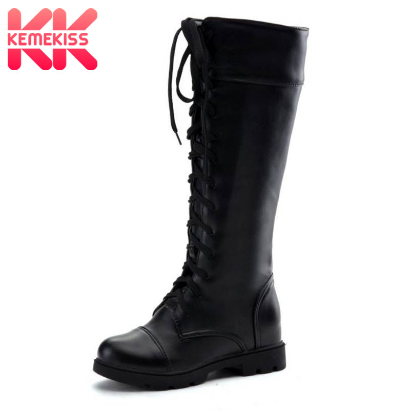 KemeKiss Fashion Women's Boots Lace Up Knee High Boots Women Martin Boots Flats Casual Punk Footwear Shoes Woman Size 34-43 girls fashion punk shoes woman spring flats footwear lace up oxford women gold silver loafers boat shoes big size 35 43 s 18