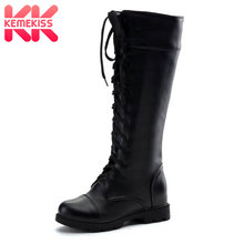New Fashion Women's Boots Lace Up Knee High Boots Women Martin Boots Flats Casual Punk Footwear Shoes Woman Size 34-43 kebeiority plus size 33 43 knee high lace up boots women high heel autumn boots shoes woman leather high leg martin boots 2017