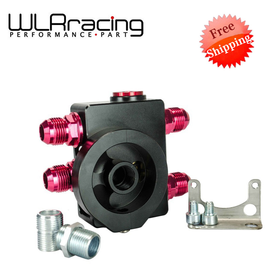 WLR RACING - FREE SHIPPING Oil Filter Sandwich Adaptor With Oil filter remote block with thermostat 1xAN8 4xAN10 WLR5675BK wlring oil filter sandwich adaptor for high quality oil filter remote block with thermostat 1xan8 4xan10 orb female wlr6744
