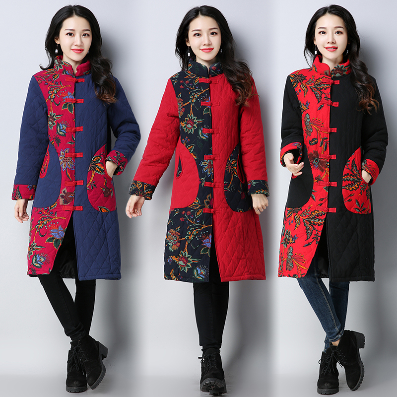 Chinese Style Winter Coat 2017 New Autumn and Winter Vintage Outwear Women Floral Print Long Cotton-Padded Jacket Parka 2015 europe brand design autumn winter women coat national wind jacket vintage women parka floral embroidery outwear coat dx230