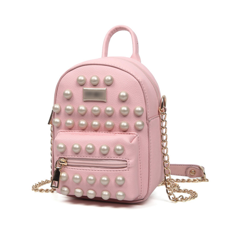 Edgy Big Rivet Casual Small Bag 2016 Fashion New Stylish PU Shoulder Bag Litchi Stria Leather