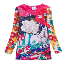 цены на Girls T-shirt Children t Shirts Kids Flower t-shirt Girls Long Sleeve Tops Girls T Shirt Child Clothing Kids Cotton Shirts F4908  в интернет-магазинах