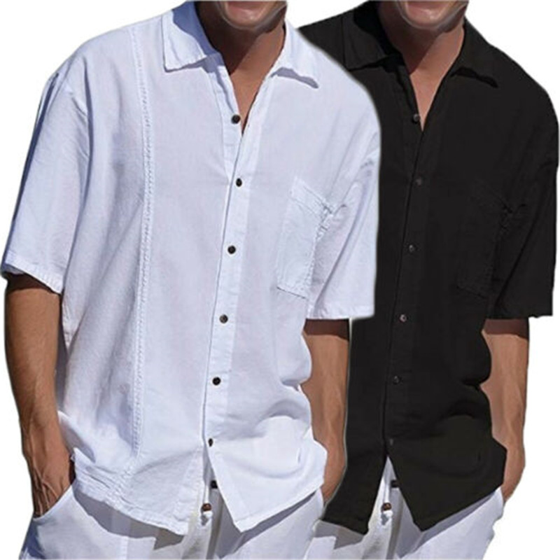 Mens CasualShirt Short Sleeve Linen Loose Shirt Breathable Soft V-Neck Tops Solid Button-up Cotton White Shirts