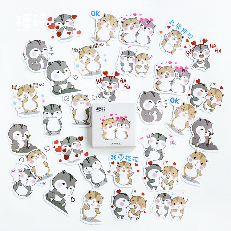 45PCS/box Cute Chipmunks Diary Paper Lable Stickers Crafts And Scrapbooking Decorative Lifelog Sticker DIY Stationery