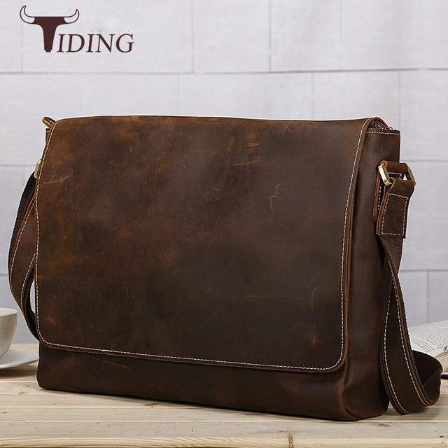 a2d48f2d23fb Tiding Luxury Mens Cowhide Messenger Bag 14 inch Laptop Simple Vintage  Shoulder Briefcase Fashion Cover Satchel