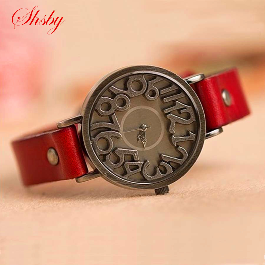 Shsby New Vintage Digital Hollow Genuine Cow Leather Strap Watches Women Dress Watches Female Quartz Watch Student Leisure Watch