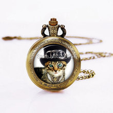 Movie Puss in Boots Steampunk Vintage CAT Quartz Pocket Watches 12pcs/lot Pendant Necklace Chain New Battery womens e&m handmade(China)