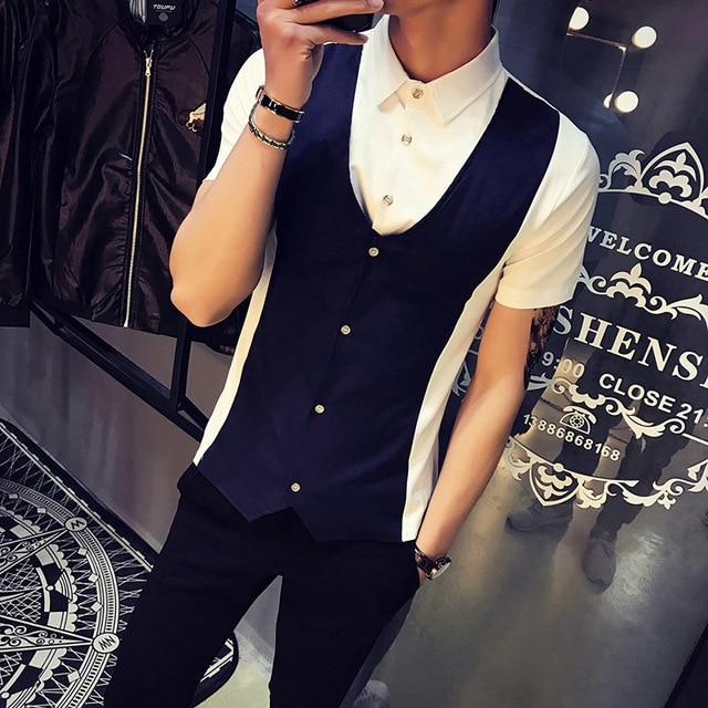 2017 Short Masculino Camisa Social Mens Summer Shirts Chemise Homme 5xl Sky Blue 2 pcs Shirts Sky Blue Herren Hemden Club Outfit