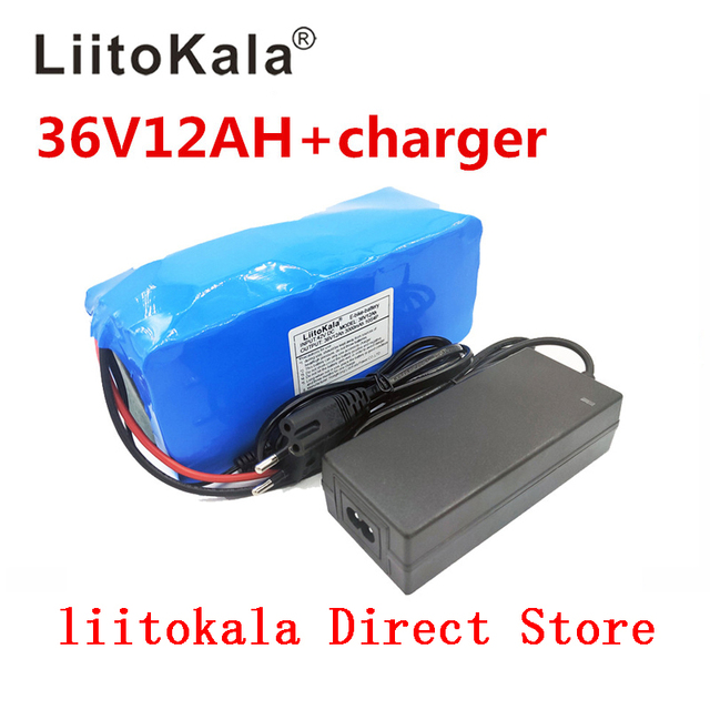 NEW LiitoKala 36V 12AH Electric Bicycle Battery Built In Lithium Battery BMS 20A 36 Volt With 2A Battery Charge Ebike