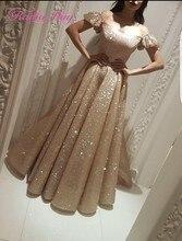 Sparkly Gold Sequined Arabic Yousef Aljasmi Evening Dress with Sleeves Elegant Women Long Abaya Kaftan Dubai Formal Prom Dresses
