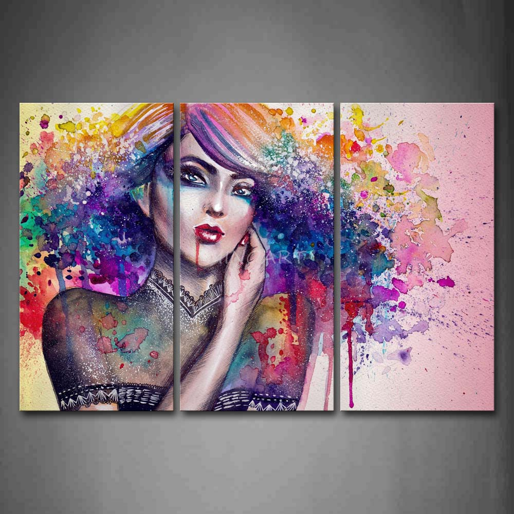 3 piece wall art painting woman with colorful hair picture