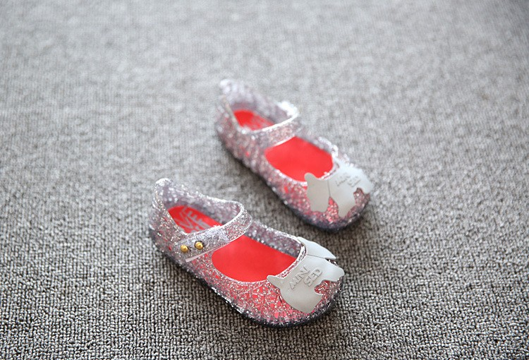 17 new fashion girls shoes Bow jelly sandals female child soft outsole princess shoes open toe shoes kids sandals baby shoes 7