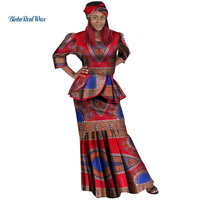 New African Top and Skirts Sets for Women Bazin Riche Traditional African Women Clothing Dashiki 2 Pieces Skirts Sets WY136