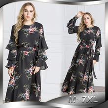 2018 Fashion Women Muslim Dress O Neck Long Flare Sleeve Elegant Abaya Turkish Dubai Club Party Dress Plus Size 7XL Black Abaya