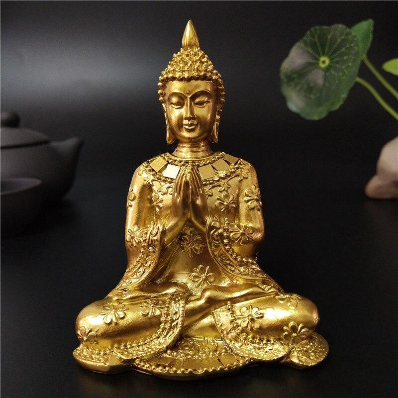 Estatua de Buda de Tailandia dorada decoración del jardín para el hogar escultura de Buda de meditación figuras de Fengshui hindúes ornamentos artesanías Reflujo de incienso quemador creativo decoración del hogar cerámica Buda incienso titular incensario budista + 20 piezas conos de incienso regalo gratis