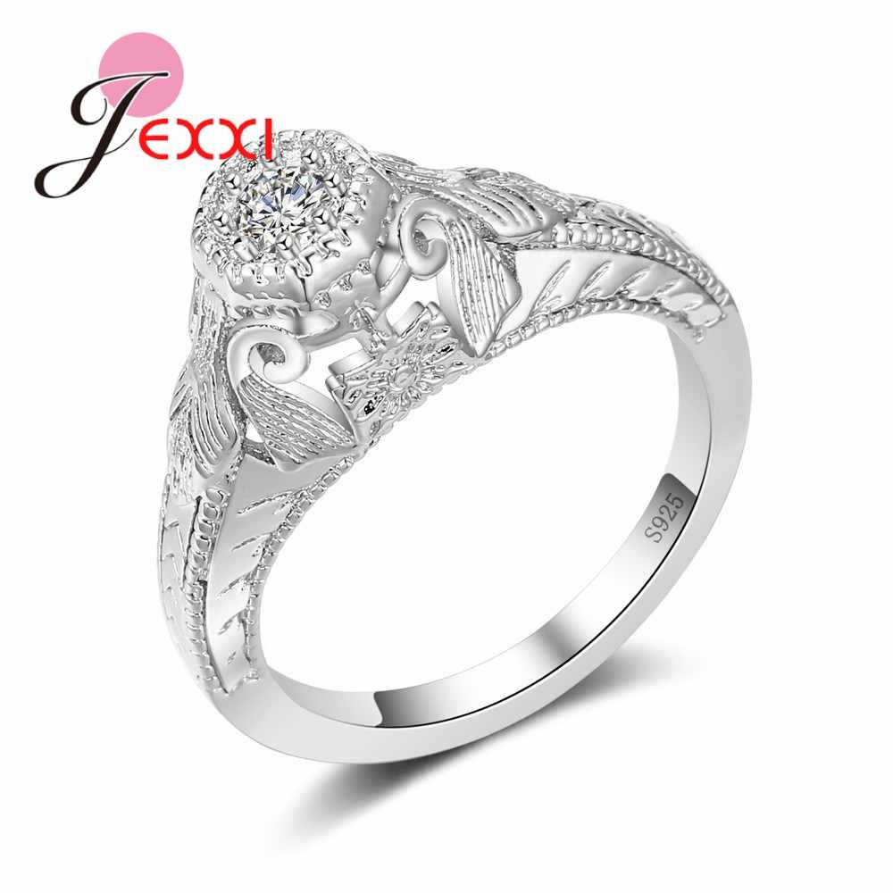 High Quality Shining Cubic Zircon Rings for Women Solid 925 Sterling Silver Austrian Crystal Wedding Engagement Jewelry
