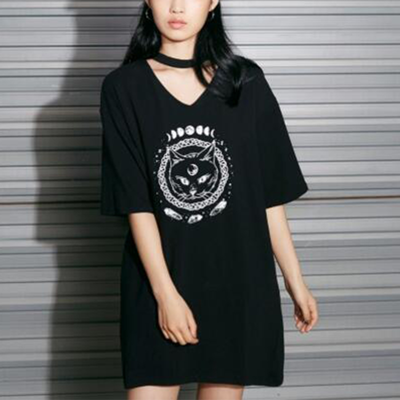 Witchcraft Cat Printed Cotton Maternity Dress Loose Summer Fashion Nursing Clothes For Pregnant Women Pregnancy Clothing