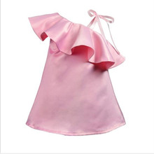 The latest girl summer sweet lotus leaf collar dress infant pink strap party princess baby clothes