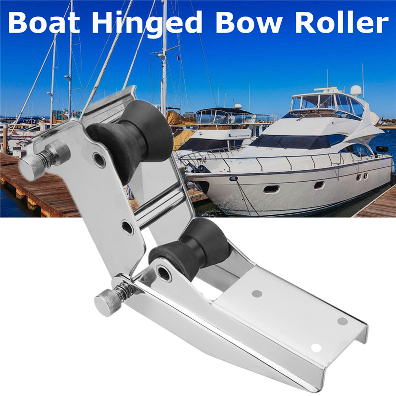 Boat Hinged Bow Roller 316 Stainless Steel Surface Polishing Aid Retrieval Storage of Anchor two 50mm Rollers Quick Release databases and information retrieval