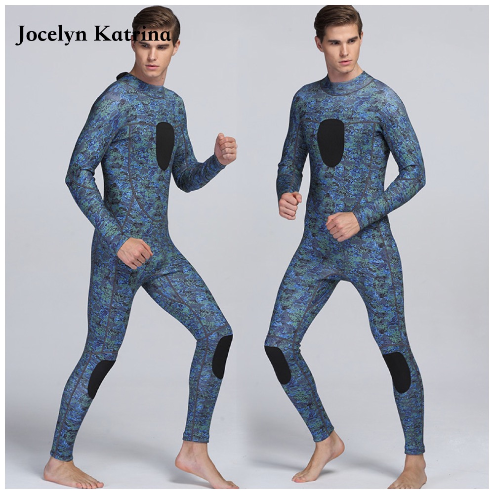 Jocelyn Katrina 3MM Neoprene Men Scuba Diving Suit Lining Warm Wetsuit Snorkeling Kite Surfing Spearfishing Swimwear hisea 5mm neoprene wetsuit men scuba diving suit fleece lining warm snorkeling kite surfing spearfishing swim suit