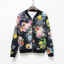 Hermicci 2017 Autumn Winter New Print Flowers Bomber Jacket Women Casual Baseball Jacket Coat Zipper Up Long Sleeve Wear