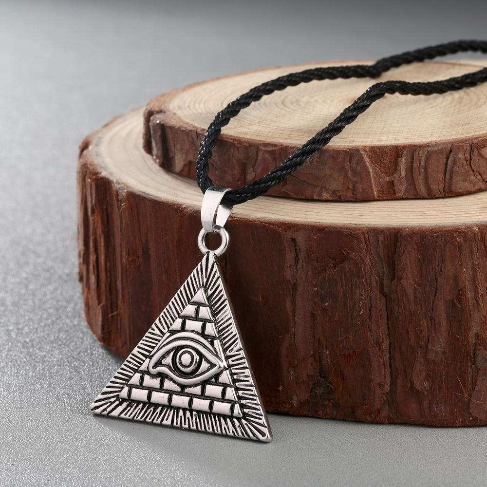 Chereda Egyptian Egypt Pyramid Pendants for Men Punk Style Rope Chain Necklaces Triangle Evil Eye Illuminati Jewelry 4