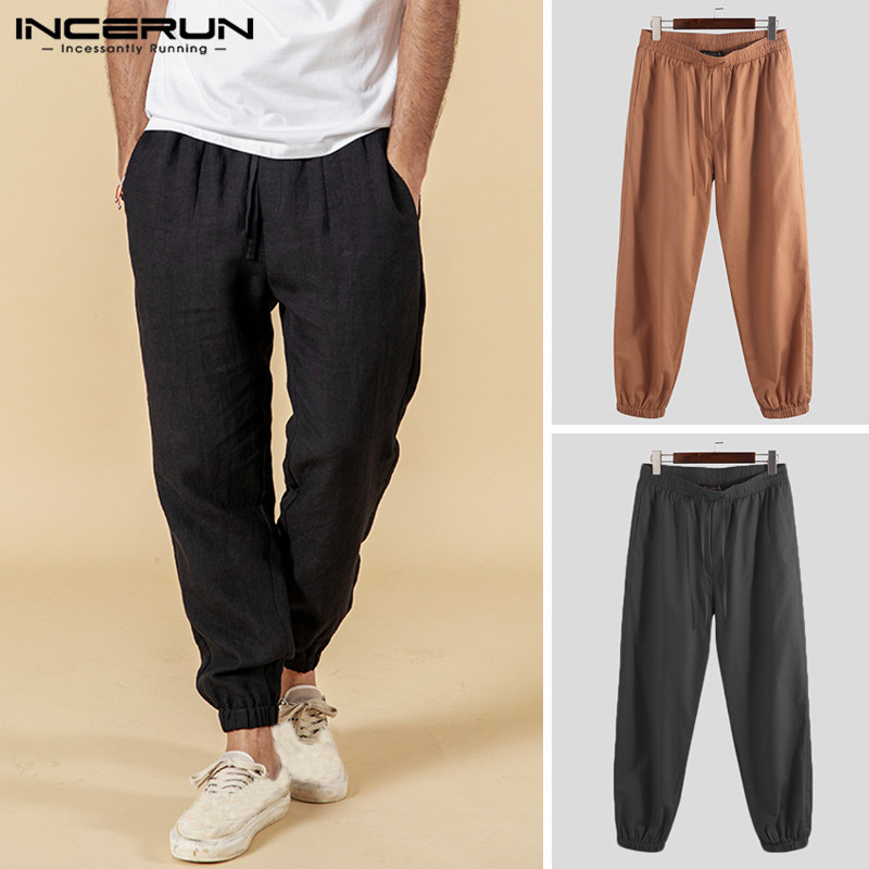 INCERUN Vintage Plain Pants Men Drawstring Joggers Workout Sweatpants Cotton Loose Straight Casual Trousers Men Streetwear 2019