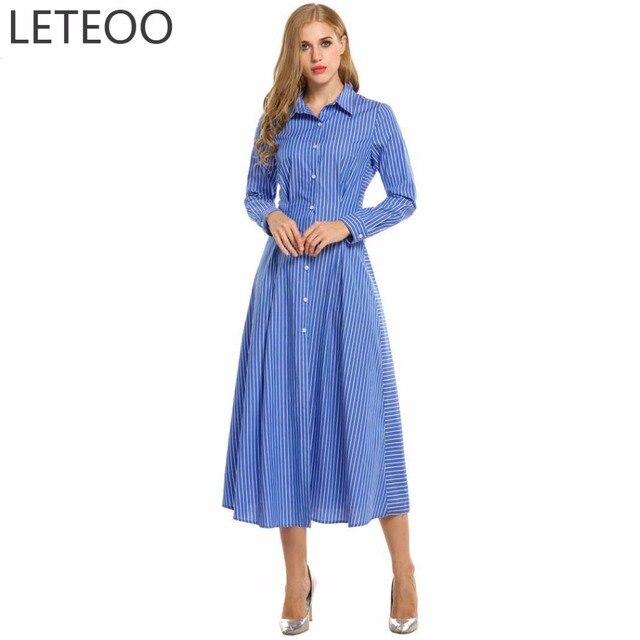 e3e5f557a556 Visualizzza di più. Autunno Blu Maxi Donne del Vestito Della Camicia Abiti Elegante  Vestito A Righe A Manica Lunga