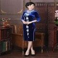 Azul Chinês Do Vintage Senhora Bordados de Contas de Artesanato Topo Cheongsam Chinês Elegante Encantador Qipao Vestido Tamanho S M L XL XXL