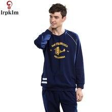 491f9665f0f16cf Для мужчин осенние пижамные костюмы одежда из хлопка с длинными рукавами  ночная одежда Костюмы Для мужчин