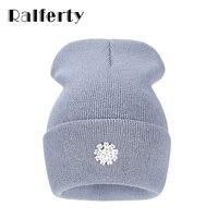 cbaa47c19e4 Ralferty New Fashion Lovely Knitting Wool Acrylic Beanies Hip Hop One Flower  Hats for Women Gorros
