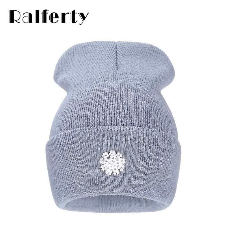Ralferty New Fashion Lovely Knitting Wool Acrylic Beanies Hip Hop One Flower Hats For Women Gorros Bonnets Caps Woman Floral Cap