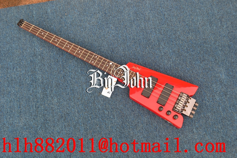 FREE SHIPPING new Big John left hand headless electric bass in METAL RED COLOR F-3369